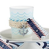 Nautical Frosted Glass Tea Light Holders with Anchor Charms (Set of 4)