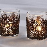 Kate Aspen Black Floral Lace Design Tea Light Holders (Set of 4)