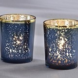 Kate Aspen Blue Mercury Glass Gold-Rimmed Tea Light Holders (Set of 4)