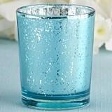 Kate Aspen Light Blue Mercury Glass Tealight Holders (Set of 4)