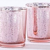 Kate Aspen Light Pink Mercury Glass Tealight Holders (Set of 4)