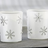Kate Aspen Sparkling Snowflake Glass Tea Light Holders (Set of 4)