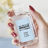 2 oz Hand Sanitizers with Personalized Wedding Stickers (Set of 12)