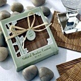 Kate Aspen Natural Bamboo Eco-Friendly Coaster Favors (Set of 4)