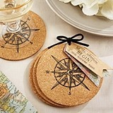Let the Journey Begin Compass Motif Cork Coasters (Set of 4)
