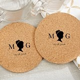 Personalized 'English Garden' Cameo Design Cork Coasters (Set of 12)