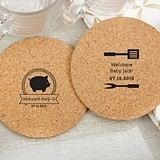 Personalized BBQ Designs Round Cork Coasters (Set of 12)