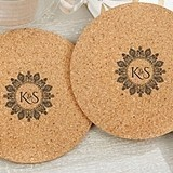 Personalized Indian Jewel Motif Round Cork Coasters (Set of 12)