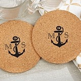Personalized Nautical Anchor Motif Round Cork Coasters (Set of 12)