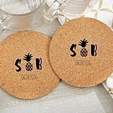 Personalized 'Pineapples & Palms' Round Cork Coasters (Set of 12)