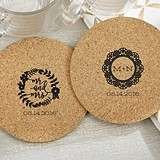 Personalized Romantic Garden Designs Round Cork Coasters (Set of 12)