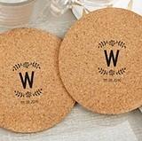 Personalized Rustic Monogram Design Round Cork Coasters (Set of 12)