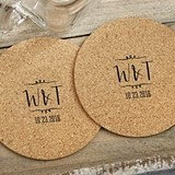 Personalized Vineyard Initials Round Cork Coasters (Set of 12)