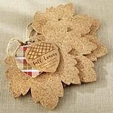 Kate Aspen Leaf-Shaped Natural Cork Coasters (Set of 4)
