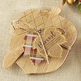 Kate Aspen Acorn-Shaped Bamboo-Wood Cheeseboard and Spreader