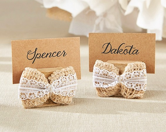 Kate Aspen Lace & Burlap Bow Place Card Holders (Set of 6)