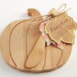 Kate Aspen Pumpkin-Shaped Bamboo Cheese Board with Spreader