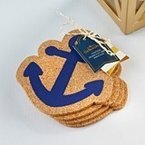 Kate Aspen Navy Blue Nautical Anchor-Shaped Cork Coasters (Set of 4)