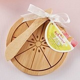 Kate Aspen Citrus-Themed Round Bamboo Cheese Board with Spreader