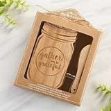 Kate Aspen Vintage Mason Jar Shaped Cheeseboard and Spreader