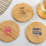 Personalized Bamboo-Wood Coasters - Bachelor(ette) Party (Set of 12)