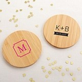 Kate Aspen Personalized Bamboo-Wood Coasters - Monogram (Set of 12)