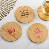 Kate Aspen Personalized Bamboo-Wood Coasters - Wedding (Set of 12)
