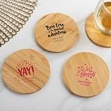 Kate Aspen Personalized Bamboo-Wood Coasters - Wedding (Set of 12)