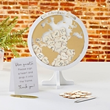 Kate Aspen Globe-Shaped Wedding Guest Book Alternative with Hearts
