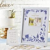 Kate Aspen Blue Willow Motif Wedding Guest Book Alternative with Hearts