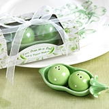 Two Peas in a Pod Ceramic Salt & Pepper Shakers in Ivy Print Gift Box