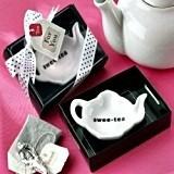 """Swee-Tea"" Ceramic Tea-Bag Caddy in Black & White Gift Box"