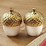 Kate Aspen Gold-Dipped Ceramic Acorn Salt & Pepper Shakers (Set of 2)
