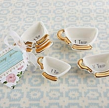 Kate Aspen Tea Time Whimsy Ceramic Teacup Measuring Spoons (Set of 3)