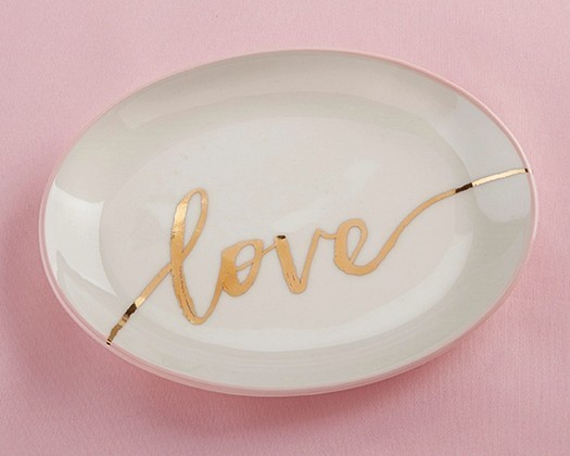 Kate Aspen White Ceramic Trinket Dish with Gold Foil Script Love Decal