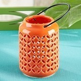 Kate Aspen Tropical Chic Coral-Colored Ceramic Cutout Lantern