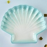 Kate Aspen Light Blue Watercolor Ceramic Sea Shell-Shaped Trinket Dish