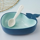Kate Aspen Nave Blue Whale-Shaped Ceramic Dip Bowl and Spoon
