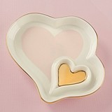 Kate Aspen Ceramic Double Heart Trinket Dish with Gold Foil Accents