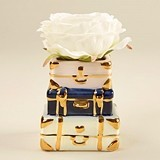 Kate Aspen Stacked Suitcases Motif Ceramic Bud Vase