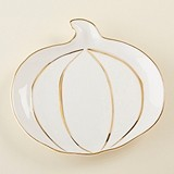 Kate Aspen Pumpkin Ceramic Trinket Dish with Gold Foil Details