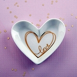 Kate Aspen Small Heart-Shaped Trinket Dish with Gold-Foil 'Love' Heart