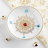 Kate Aspen Indian Jewel Ceramic Trinket Dish with Rhinestone Accents