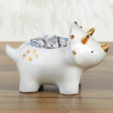 Kate Aspen Dinosaur-Shaped Ceramic Planter with Gold Foil Accents