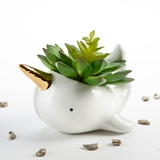 Kate Aspen Narwhal-Shaped Ceramic Planter with Gold Foil Horn