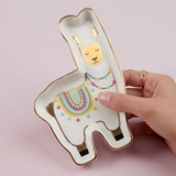 Kate Aspen Llama-Shaped Ceramic Trinket Dish with Gold Foil Details