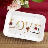 Kate Aspen 'Burgundy Blush' Floral Love Ceramic Trinket Dish