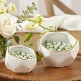 Kate Aspen Geometric Ceramic Planters - Small & Medium Size (Set of 2)