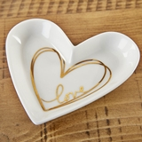 Kate Aspen Medium Heart-Shaped Trinket Dish with Gold Foil Love Decal