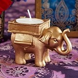 Lucky Elephant Golden Tealight Holders with Decorative Detail
